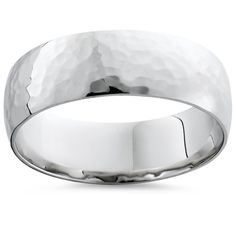 7MM Polished Hammered Wedding Band 10K White Gold. This mens ring measures 7mm and features a polished hammered band.