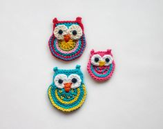 Big Owl Small Owl and Colorful Owl Applique / by oneandtwocompany, $2.99