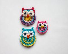 Colorful Owls Applique  2 sizes  PDF Crochet por oneandtwocompany