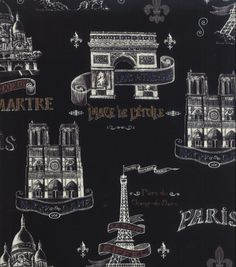 Novelty Cotton Fabric Bienvenue A ParisNovelty Cotton Fabric Bienvenue A Paris,
