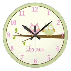 Pink and Green Owl Nursery Personalized Wall Clock