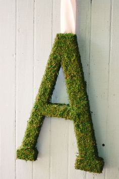 "Moss Covered Letters - I have a ""K"" - thinking front door wreath."
