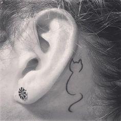 Ear tattoo small, behind ear tattoos, small cat tattoos, mini tattoos, ti. Dog Tattoos, Mini Tattoos, Trendy Tattoos, Animal Tattoos, Body Art Tattoos, Small Tattoos, Tatoos, Tiny Cat Tattoo, Cat Outline Tattoo