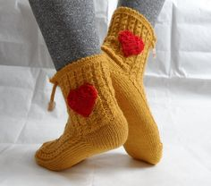 Mustard Yellow Slipper Socks Christmas Gift by fizzaccessory, $16.00