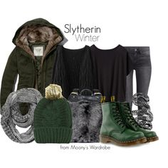 Slytherin: Winter by evalupin on Polyvore featuring Athleta, Abercrombie & Fitch, H&M, Dr. Martens, Ruxx, Femme Metale, Topshop, Winter, harrypotter and slytherin