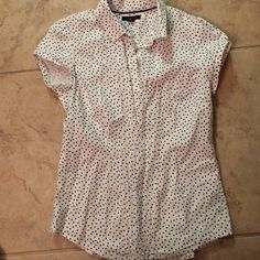 Tommy Hilfiger white top White Tommy Hilfiger top with tiny black polka dots. Button down, short sleeves. Size Medium Tommy Hilfiger Tops Blouses