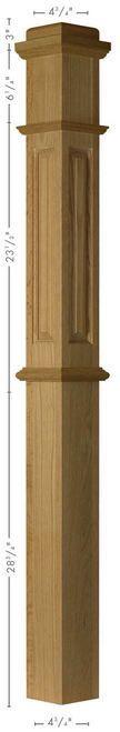 ARP-4375 Red Oak Actual Raised Panel Box Newel Post