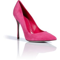 SERGIO ROSSI Pink Suede Pointy Toe Pumps ($540) ❤ liked on Polyvore