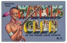 Postcards - United States # 221 - Greetings from Watkins Glen, Finger Lakes, New York - Greetings & Congrads
