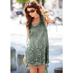 Venus Layered Lace Dress ($59) ❤ liked on Polyvore featuring dresses, lacy dress, green dress, venus dresses, double layer dress and layered lace dress