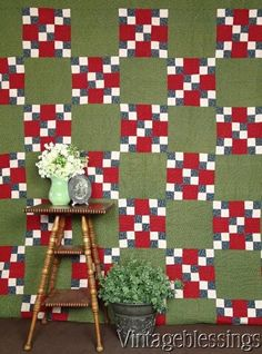 Never Used! PA ANTIQUE c1880s Green, Turkey Red Indigo Blue QUILT Beltzhoover www.Vintageblessings.com
