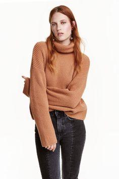 Camisola gola alta em lã   H&M