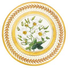 A porcelain plate, Yusupov Manufactory, Arkhangelskoe, 1825 the border with gilt laurel wreath between two gold bands, the cavetto painted with rose specimen after P.J. Redouté titled 'Rosier musqué', the reverse with gilt inscription 'Archangelski, 1825' and incised factory mark diameter 22.7cm, 9in.