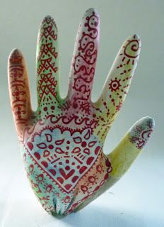 being cr8iv: Henna Hands (made from plaster of paris in a latex glove)