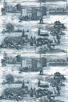 Spend a bit of time studying each scene... Timorous Beasties fabric (having bedside lampshades made in this toile)