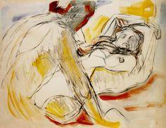 by Edvard Munch (Nor. 1863-1944) Mann und Frau /Man and woman (1913) charcoal, aquarel, gouache (ca. 60x80 cm)