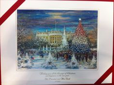 """Official Gift Print of President and Mrs. George HW Bush featuring the South Portico of the White House, raised engraved inscription """"Wishing you all the blessings of Christmas and happiness in the new year.   The President and Mrs. Bush 1992"""" and blind embossed coat-of-arms of the president.  Complete with inner and outer envelopes."""