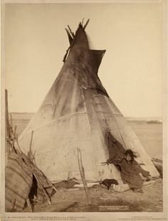 A young Oglala girl sitting in front of a tipi, with a puppy beside her, probably on or near Pine Ridge Reservation. Taken near Deadwood, South Dakota in 1891.