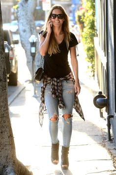 black tee, flannel, distressed jeans, booties