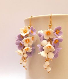 Flower earrings  #Lavender  Lilacs  Handmade by #insoujewelry