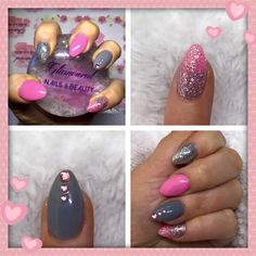 Gel Extensions with Gel Polish, glitter and gems