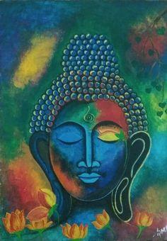 Buddha Wall Art, Buddha Painting, Gautama Buddha, Madhubani Painting, 7 Chakras, Indian Art, Lovers Art, Wall Art Decor, Lord