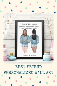 Can't figure out what to buy for that ride-or-die friend? Need a Birthday Gift, Holiday Gift, Going Away Gift or Long-Distance Friendship Gift for your bestie? Well, this personalized wall art for best friends will put a smile on their faces. Let them know that you value their friendship. You're friends forever. Click the link to start creating your one-of-a-kind gift. Sister Gifts, Best Friend Gifts, Gifts For Friends, Best Friends, Friends Forever, Long Distance Friendship, Going Away Gifts, Personalized Wall Art, Unique Birthday Gifts