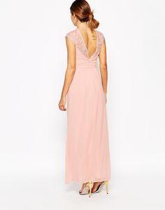 Image 2 ofElise Ryan Pleated Maxi Dress With Lace Sleeve