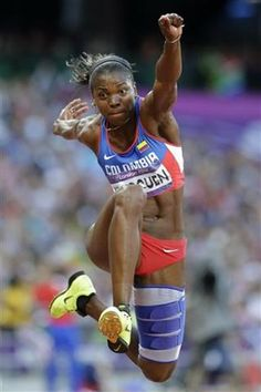 Caterine Ibargüen Mena, colombian athlete competing in high jump, long jump and triple jump.