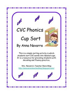 CVC Phonics Cup Sort makes a good center activity. Students are able to use these cards for repetitive practice to strengthen decoding skills and build fluency. This game is a very simple sorting activity in which students take turns reading the words and then deciding on which short vowel cup the word should be sorted into.