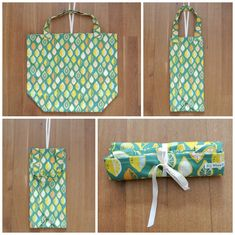 Simple roll up shopping bags Diy Bags Purses, Diy Purse, Bernina 215, Fat Quarter Projects, Diy Hacks, Upcycle, Sewing Patterns, Diy Crafts, Crafty