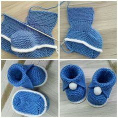 Knit Baby Booties Patterns – Knitting And We Baby Booties Knitting Pattern, Knit Baby Dress, Baby Shoes Pattern, Baby Hats Knitting, Crochet Baby Shoes, Crochet Baby Booties, Baby Knitting Patterns, Baby Patterns, Knitted Baby