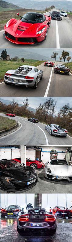 2015 Hypercar Wars: Ferrari LaFerrari vs Porsche 918 Spyder vs McLaren P1 / Topgear / Italy UK Germany / silver red black / 16-164