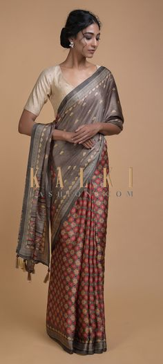 Buy Online from the link below. We ship worldwide (Free Shipping over US$100)  Click Anywhere to Tag Grayish Brown Half And Half Saree With Printed Floral Buttis And Multi Colored Floral Jaal Online - Kalki Fashion Grayish brown half and half saree in satin blend with printed floral buttis on the pallu.The pleats enhanced with multi colored floral jaal