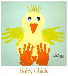 Kids Easter Craft Handprint Baby Chick | Preschool Farm Theme
