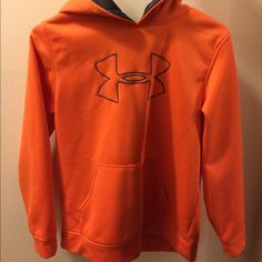 Boys Youth UA Hoodie Reposhing - My son tried it on and prefers a bigger size so he has more room in it.  Orange and gray boys hoodie.  Like new condition. Asking same price I paid since he never wore it. Under Armour Tops Sweatshirts & Hoodies