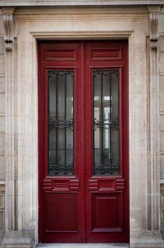Paris Photo - The Red Door, Parisian Architecture, Fine Art Photograph, Urban Home Decor.