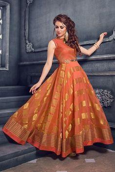 Picture of Outstanding orange floor length dress Saree Gown, Sari Dress, Anarkali Dress, Lehenga, Indian Anarkali, Saree Blouse, Kurta Designs, Blouse Designs, Indian Gowns Dresses