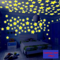 3cm 3.8cm 3D Fluorescent stars meteor interior decoration living room  bedroom children room dormitory wall stickers #Affiliate