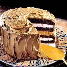 Chocolate Ice Cream Cake. This layered chocolate cake dessert recipe calls for a cake mix, instant whipped dessert topping, nonfat yogurt, and ice milk. While the fat and calories are low, the cake is fancy enough to serve for a celebration.