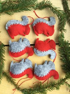 Felt ornaments are made of red and grey combination with hand made stitched detail. They are filled with polyester. Christmas Squirrel, Felt Decorations, Christmas Settings, Felt Ornaments, Red And Grey, Gift Bags, Christmas Time, Create Yourself, Etsy Seller