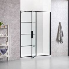 OVE Decors Milano H x to W Framed Pivot Black Shower Door at Lowe's. Give your bathroom an industrial, high-end edge with the OVE Milano shower collection. A pivoting glass shower door in an Art Deco Crittall-inspired Framed Shower Door, Frameless Shower Doors, Glass Shower Doors, Bathroom Doors, Single Bathroom Vanity, Glass Door, Bathroom Ideas, Condo Bathroom, Bathroom Inspiration