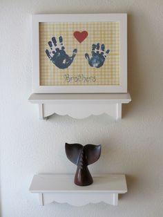 Navy Nursery room decor, yellow gingham children's wall art, Kids Wall Art Print, baby boy room art, Brotherly Love. $20.00, via Etsy.