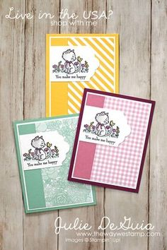 This set of cute cards was made for the Global Design Project sketch challenge. It uses the Pretty Kitty stamp set and a few of our DSP papers. Pretty Cats, Pretty Kitty, Kids Birthday Cards, Happy Birthday, Stamping Up Cards, Animal Cards, Card Sketches, Sketch Art, Cute Cards