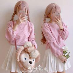 $23.39 Japanese Harajuku Lolita Sweet Bow Pullover Sweater Tops Mori Girl Partysu
