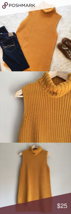 Jules + Leopold Mustard Sleeveless Turtleneck Jules + Leopold mustard sleeveless turtleneck sweater. Size Medium. Measurements are approximately chest 17' back length 32 1/2' and front length 30'. 60% cotton & 40% acrylic hand wash cold lay flat to dry. I am in ❤️ with this top!! Has a few minor snags (see pictures above) on he front. Jules + Leopold Sweaters Cowl & Turtlenecks