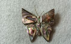 Vintage Sterling Silver Butterfly Inlaid with Abalone