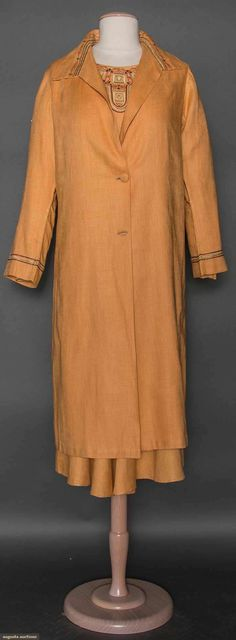 APRICOT LINEN DAY DRESS & COAT, c. 1928 Both pieces w/ geometric embroidered bands in blue, coral & brown