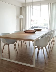 Clean lines in the dining room