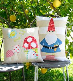 Rosies Garden & the Gnome Applique cushion by claireturpindesign, $8.00